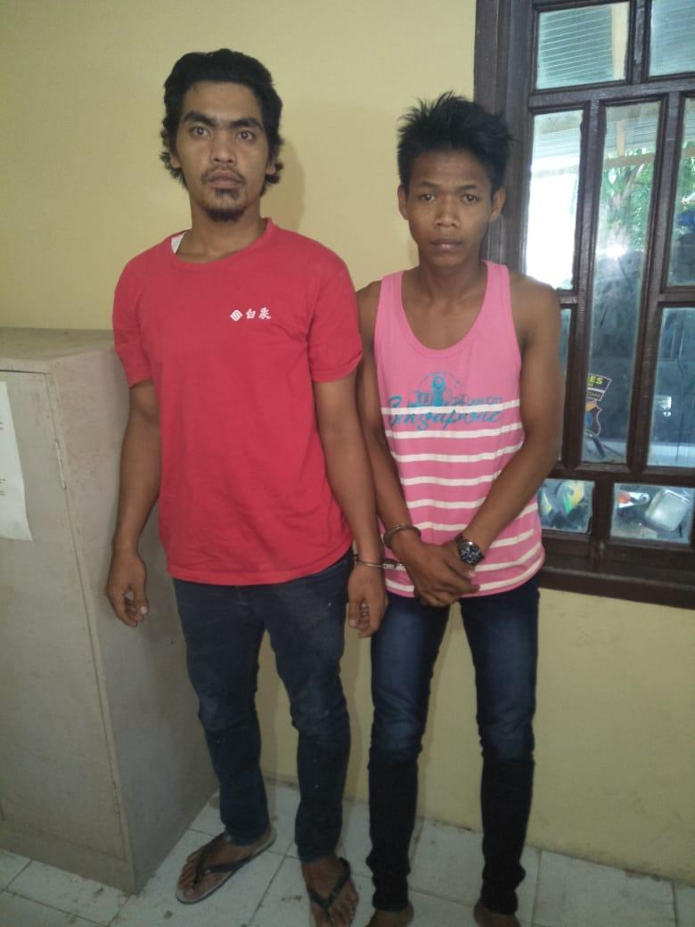 Agus kurniawan dan Sahat Limbong dua pelaku pencurian sepedamotor di Air Joman, Asahan.