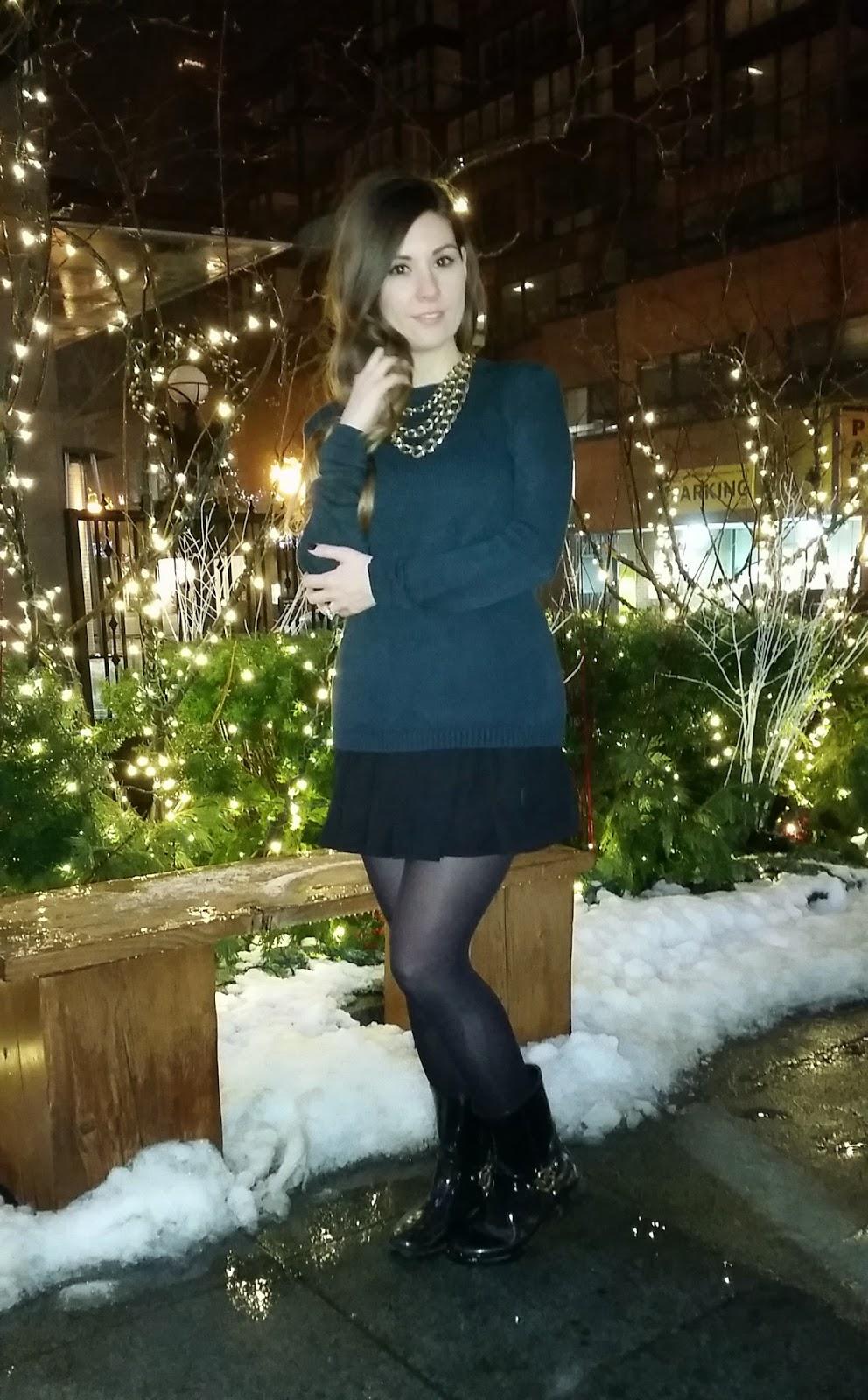 Knit Sweater, Skater Skirt, Michael Kors rain boots, Brandy Melville