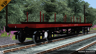 Fastline Simulation: This diagram BD006D BDA has a new design of bolster, considerably more ratchets for securing the load on each side and is finished in Railfreight flame red and grey livery.
