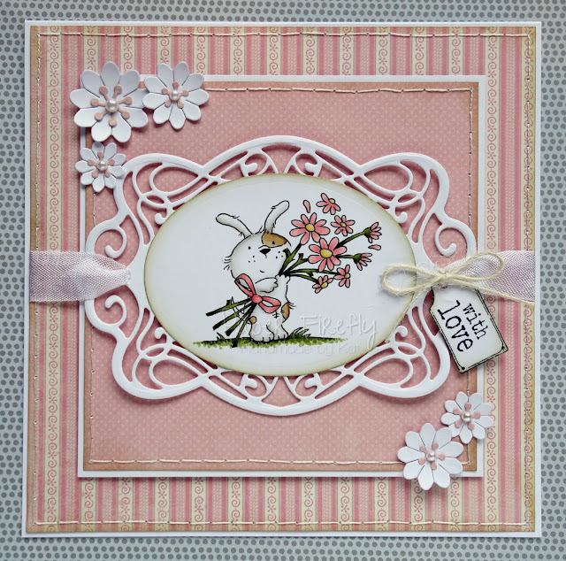 Pink card with die cut details and LOTV image 'Odd Dog - bunches of love'