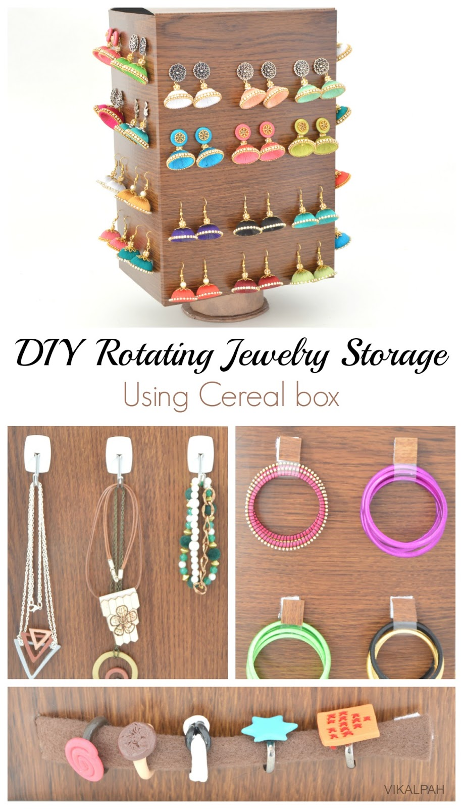 Vikalpah diy rotating jewelry storage using cereal box for Diy cereal box