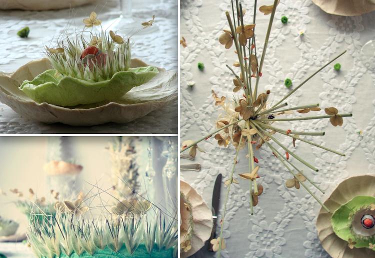 matrimonio green centrotavola fiori secchi e fiori di carta