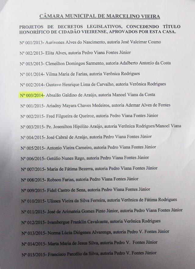 De Gustavo Carvalho a Vilma de Farias, vereadores nomearam novos cidadãos vieirenses