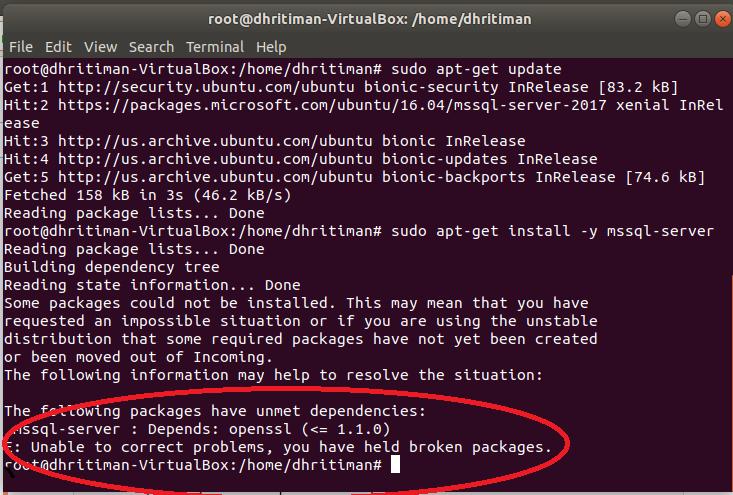 install sql server 2017 on ubuntu 18.04