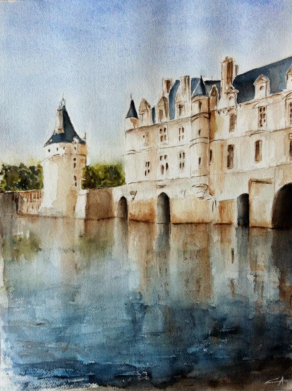 château aquarelle touraine chenonceau soleil