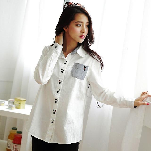 Model Baju Kemeja Wanita Warna Putih Terbaru
