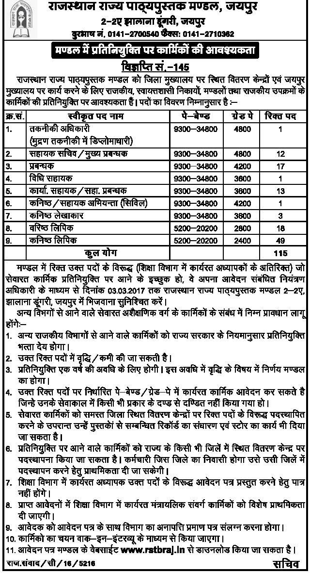 RSTB Jaipur Recruitment 2017