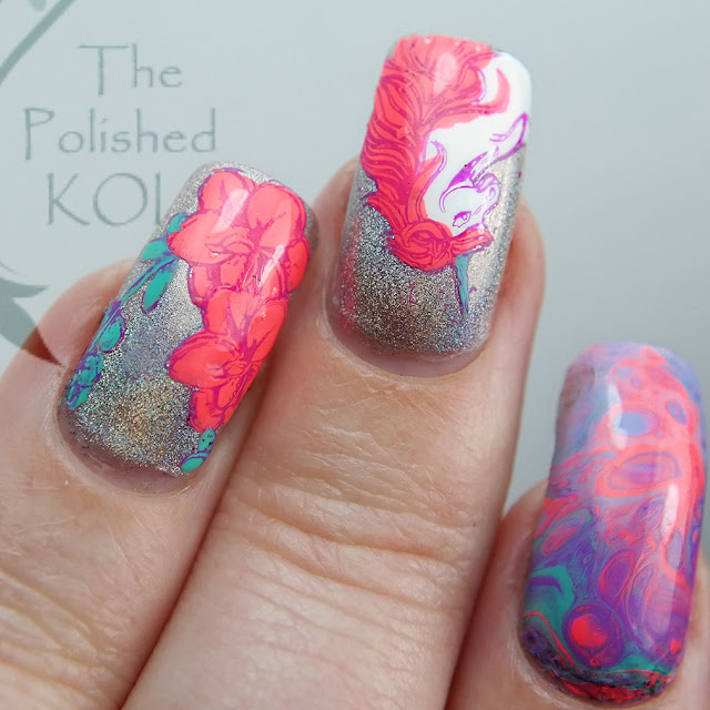Neon fluid art drip marble unicorn nail art