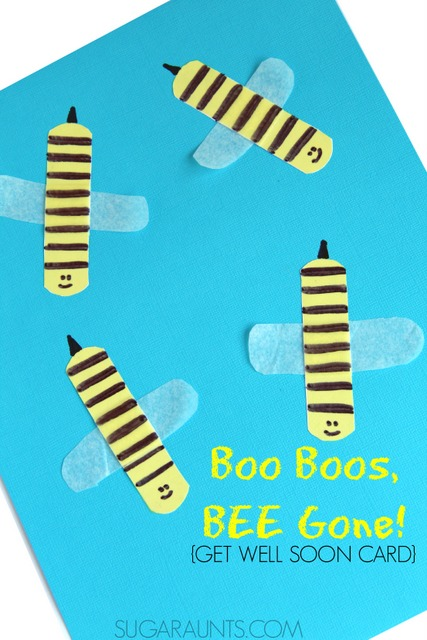 Boo Boos BEE Gone get well soon card made by kids.  Friends and relatives will love receiving this card when they are sick or injured!
