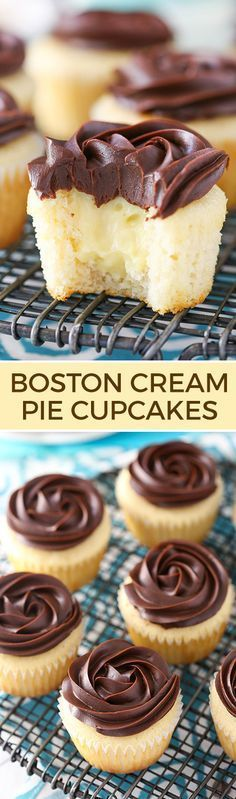 These Boston Cream Pie Cupcakes are to die for! A moist vanilla cupcake, pastry cream filling and beautiful chocolate ganache topping make this one tasty cupcake you will definitely want to sink your teeth into.