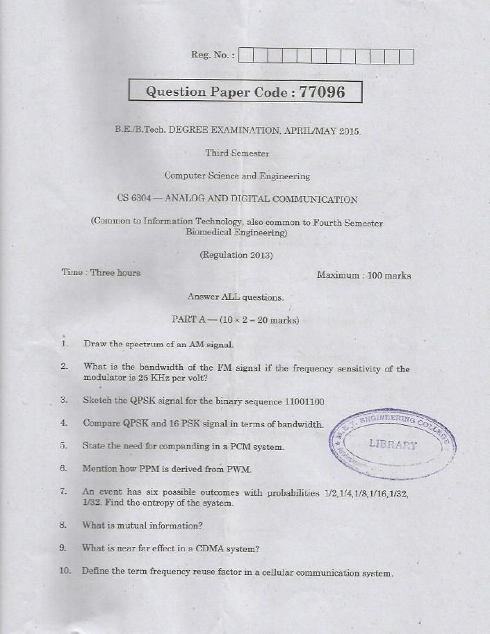 CS6304 Analog and Digital Communication April May 2015