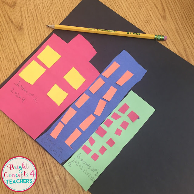 Review repeated addition and beginning multiplication skills with this popular math craft and bulletin board display.