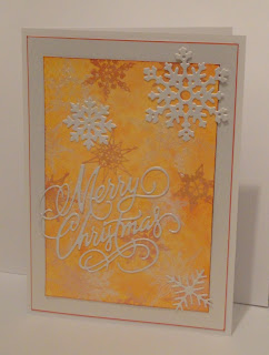 Orange Christmas card with snowflakes and Merry Christmas die cut