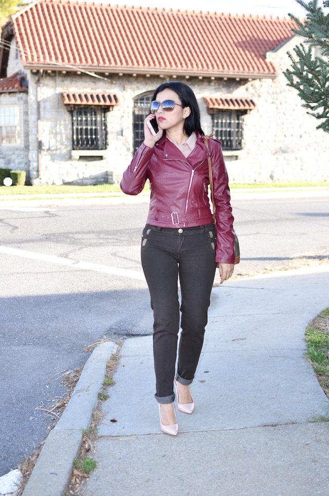 Wine Red Biker Jacket