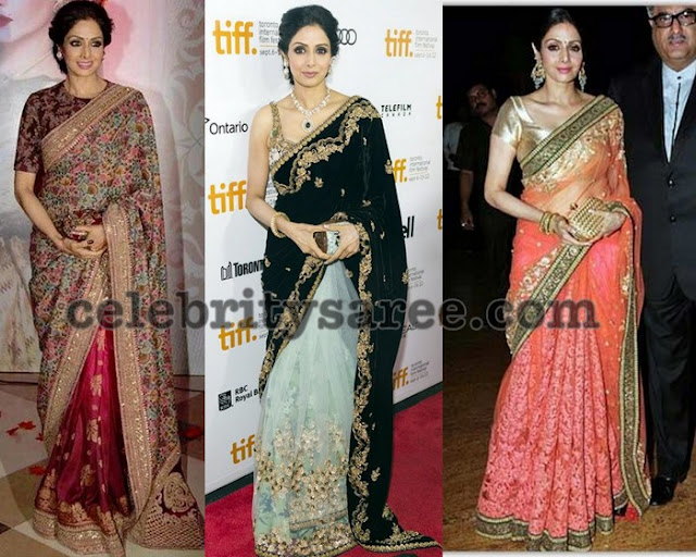 Sri Devi in half and half saree by Manish Malhotra