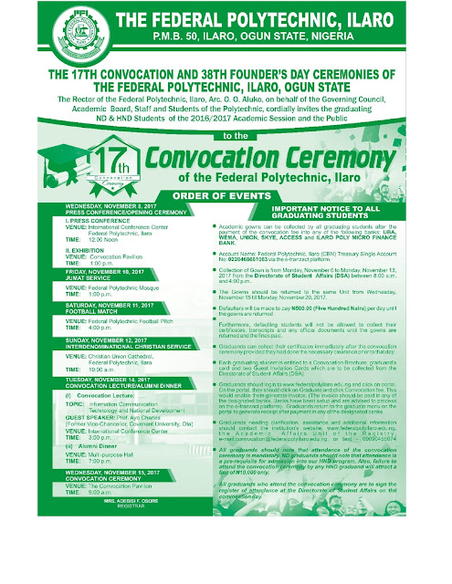 Federal Polytechnic Ilaro 17th Convocation & 38th Founder's Day Ceremonies
