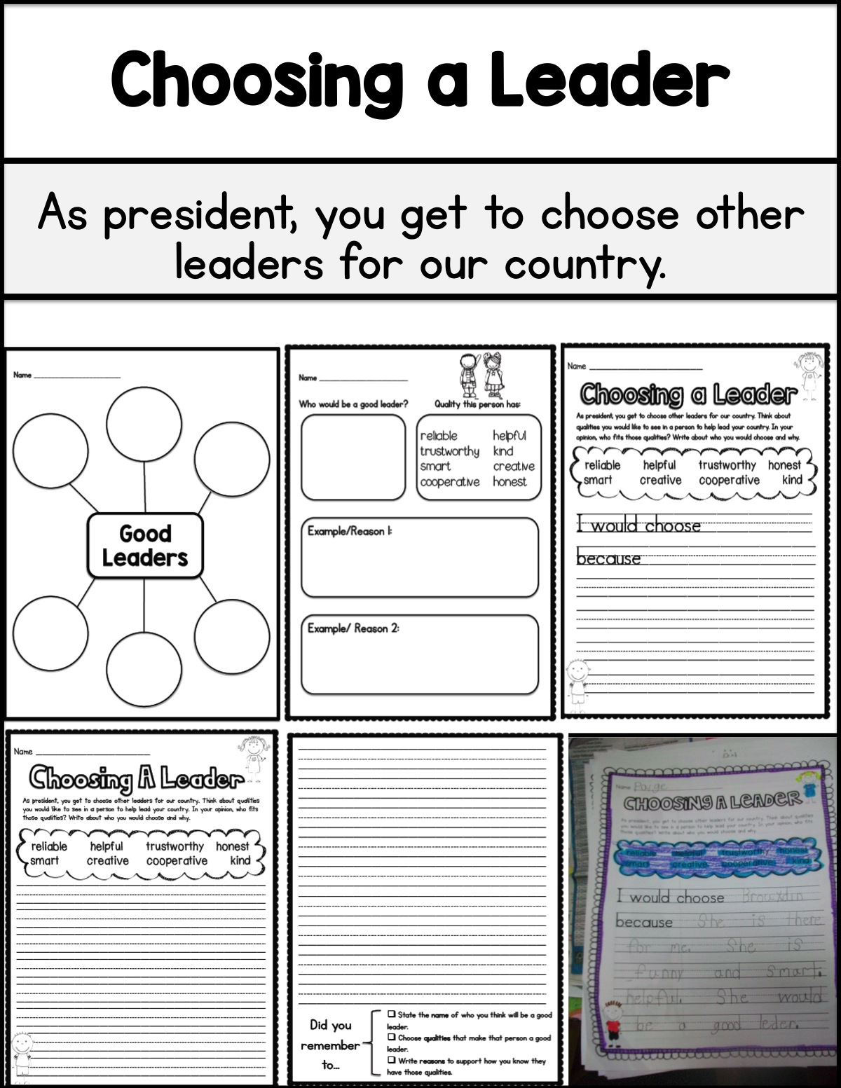 Presidents Day Activities Primary Chalkboard – Leadership Worksheets
