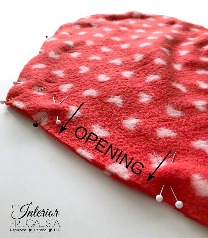 Fleece Heart Pillow Pinned With Opening