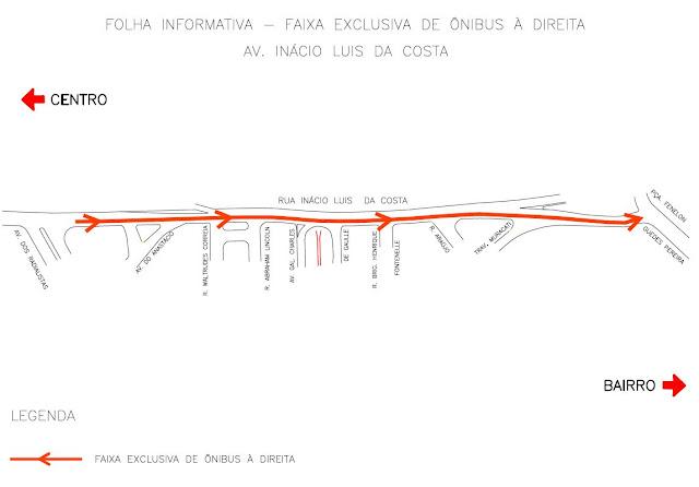 Faixa exclusiva para ônibus na Rua Inácio Luís da Costa