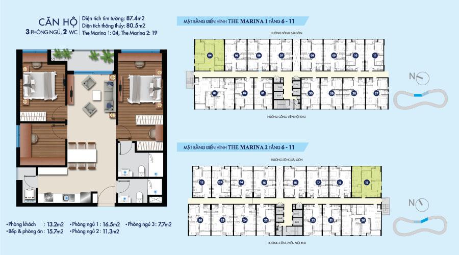 Mặt bằng căn 3PN-2WC-87m2 toà The Marina tầng 6-11 căn hộ River City
