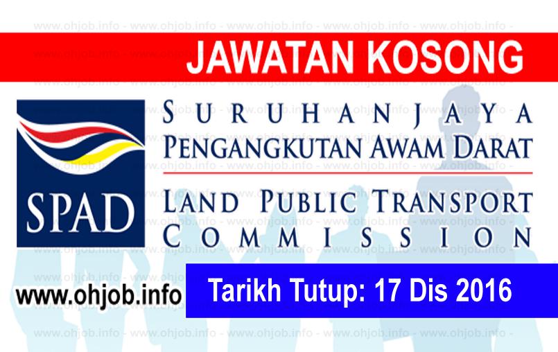 Jawatan Kerja Kosong Suruhanjaya Pengangkutan Awam Darat (SPAD) logo www.ohjob.info disember 2016