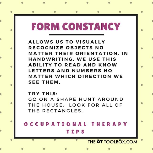 Form constancy visual perception activity