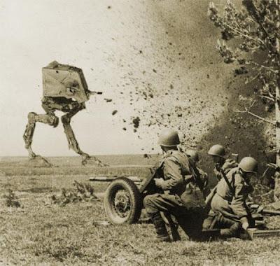 Star wars  en la tierra - Foto montaje blanco y negro