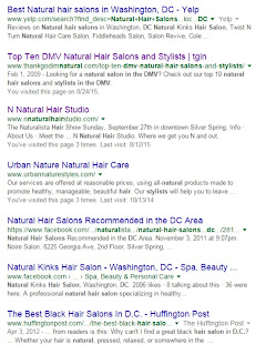 Google results for natural hair salons in the DC, VA, and MD area