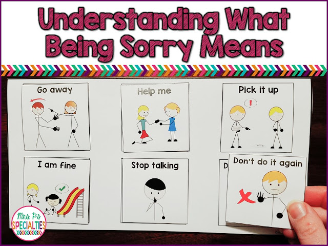 Understanding what it means to be sorry can be an abstract concept for students with autism and other related disabilities. Here is an approach with visuals to help break it down and make it meaningful for students.