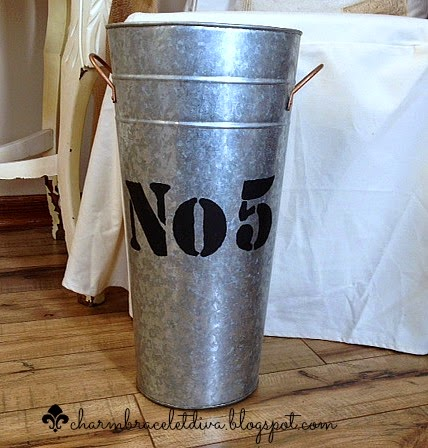 stencilled galvanized French flower bucket