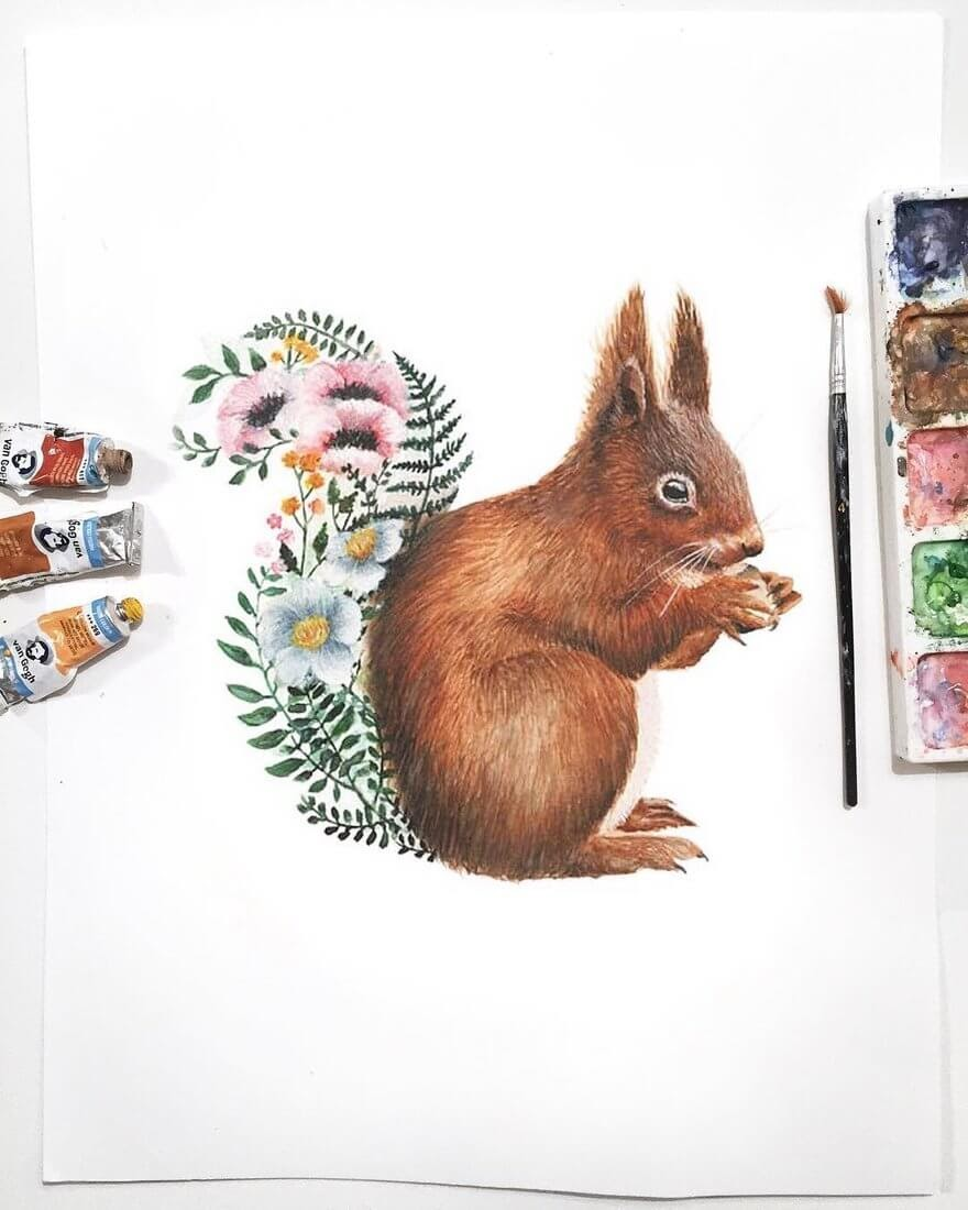 10-Red-Squirrel-K-Schwarzoviously-Wildlife-Animal-Paintings-www-designstack-co