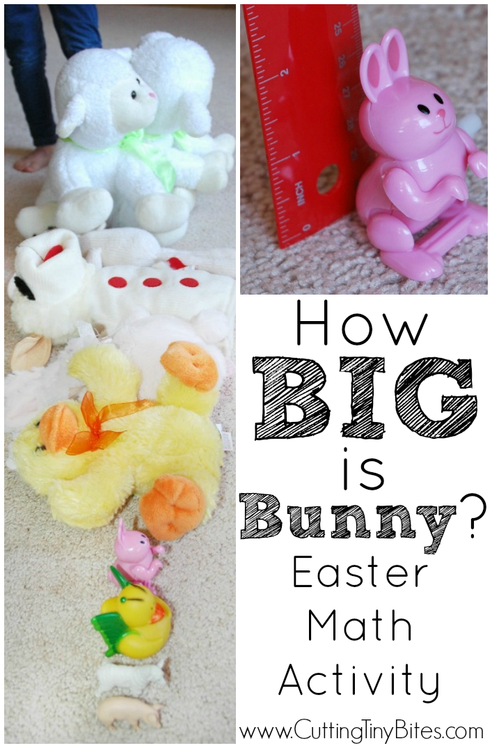Easter math activity for kids. Toddlers preschoolers, or early elementary children will enjoy size sequencing and measuring.