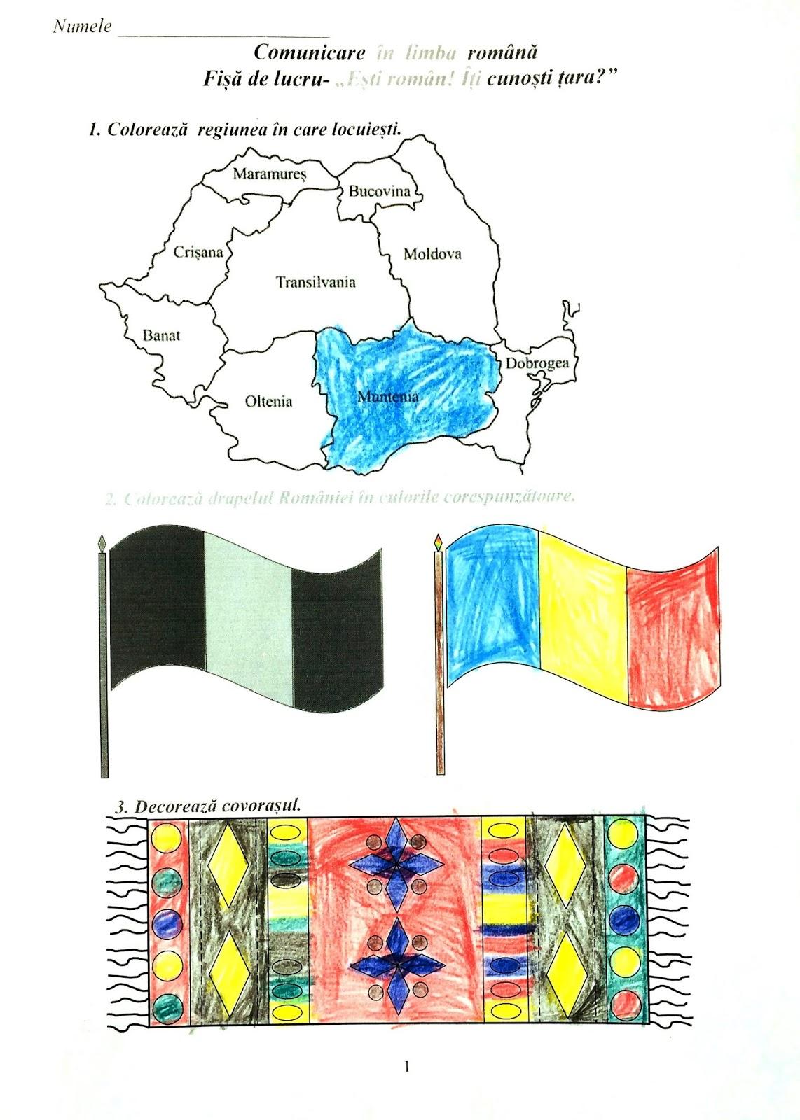Fișă de lucru - Ești român! Îți cunoști țara?