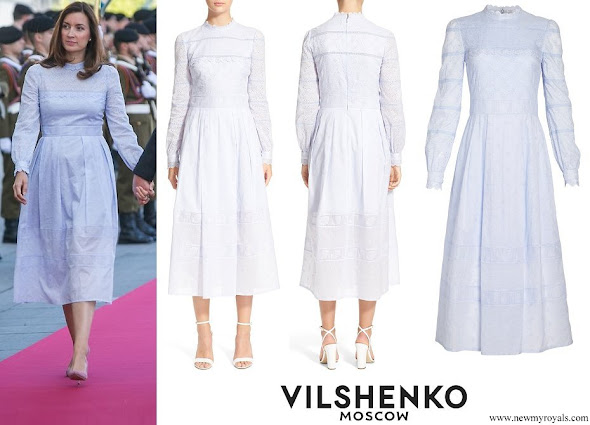 Princess Claire VILSHENKO Pru Lace and Eyelet Cotton Midi Dress