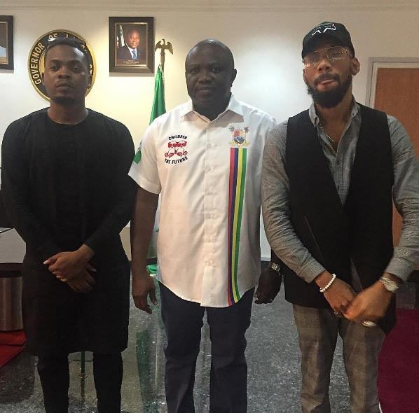 Phyno, Olamide pictured with Lagos State governor Ambode