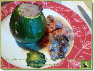 Vie quotidienne de FLaure : Courgette ronde farcie à la viande parfumée avec du raz el hanout (Cooking chef ou pas)