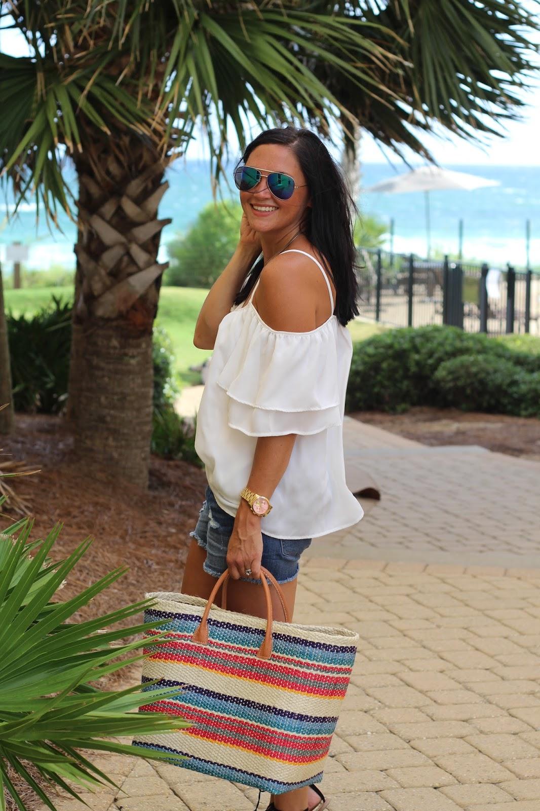 Colorful stripe straw tote, beach style, white cold shoulder