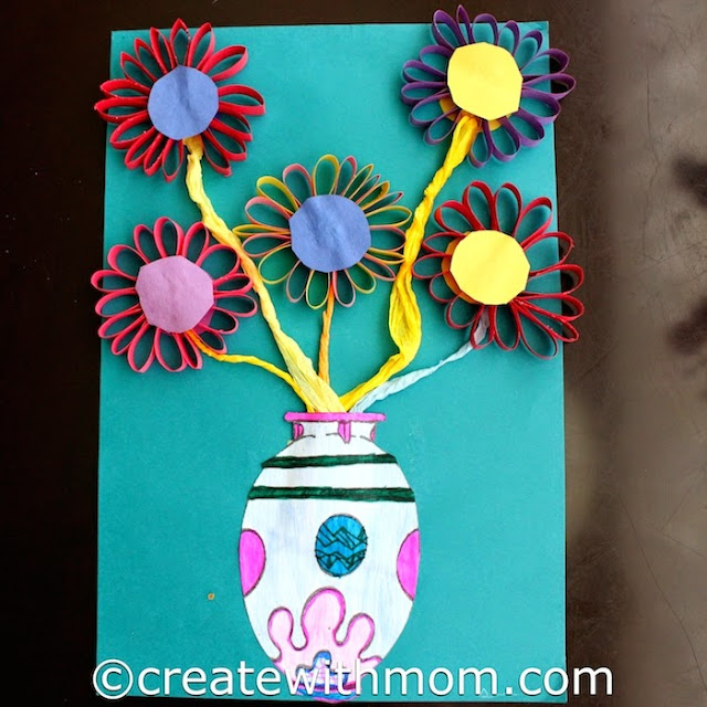 vase of flowers construction paper