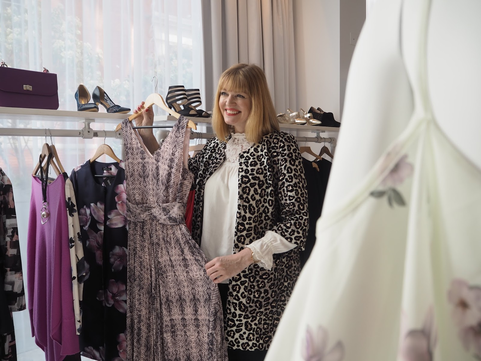 What-Lizzy-Loves-Kaleidoscope-AW17-Press-Day-Snakeprint-maxi-dress-Behind-The-Scenes