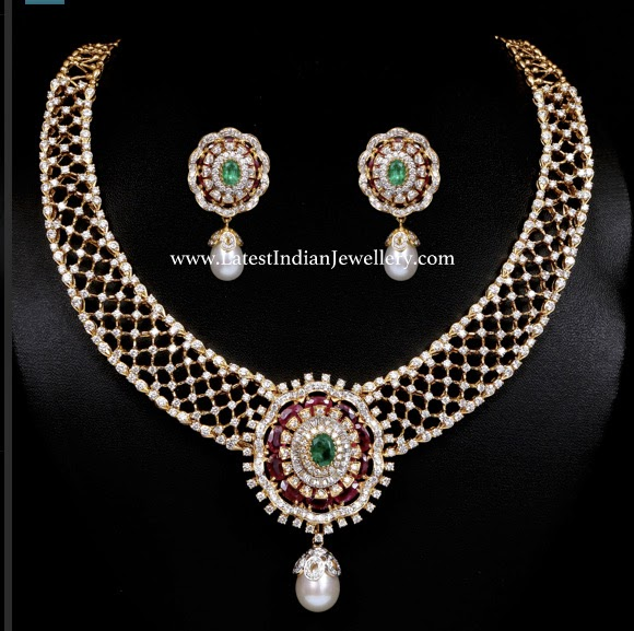 Ruby Emerald Diamond Necklace Set