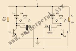 Skematik Flip FLop 4 LED dengan Transistror