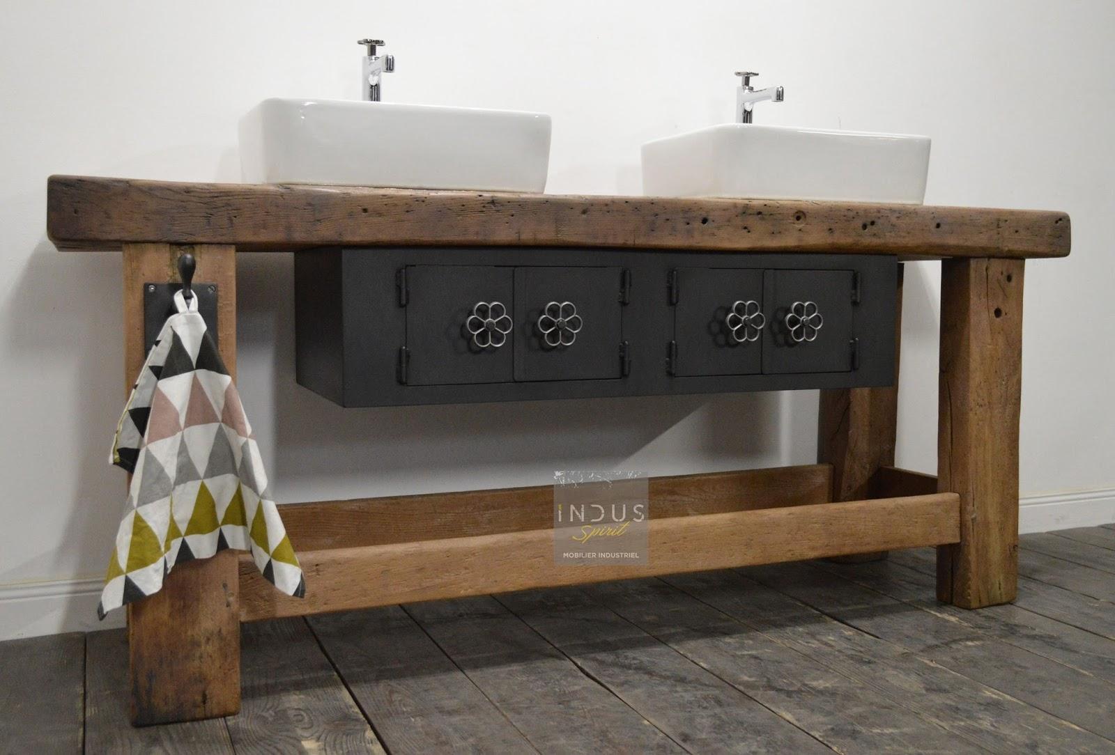 Meuble de salle de bain industriel for Renover meuble salle de bain