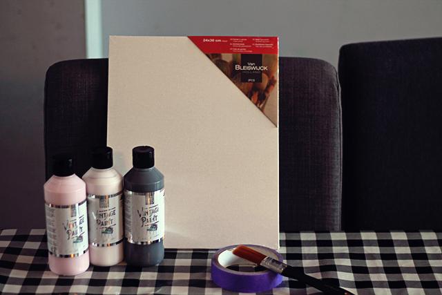 benodigdheden abstract schilderen met trucjes