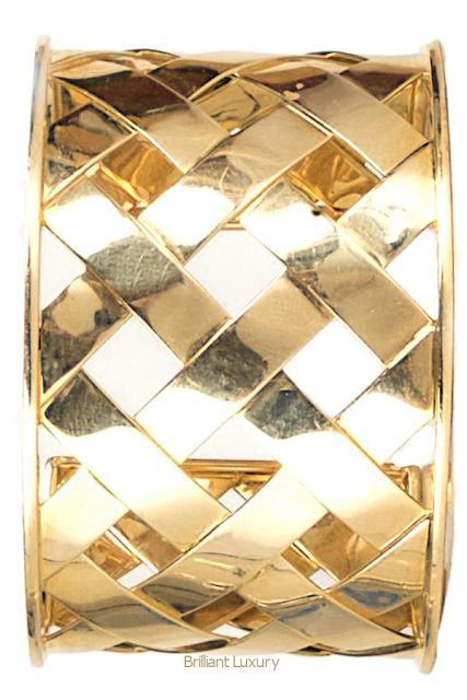 Brilliant Luxury♦Verdura 18K Yellow Gold Criss Cross Cuff