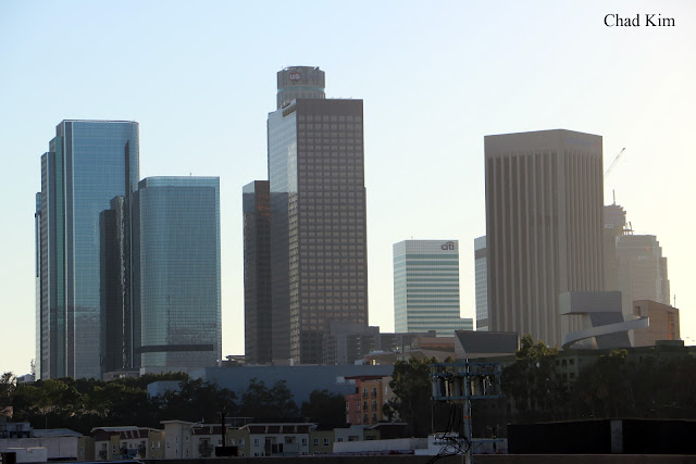 Downtown Los Angeles DTLA skyline as seen from Chinatown Gold Line Station platform