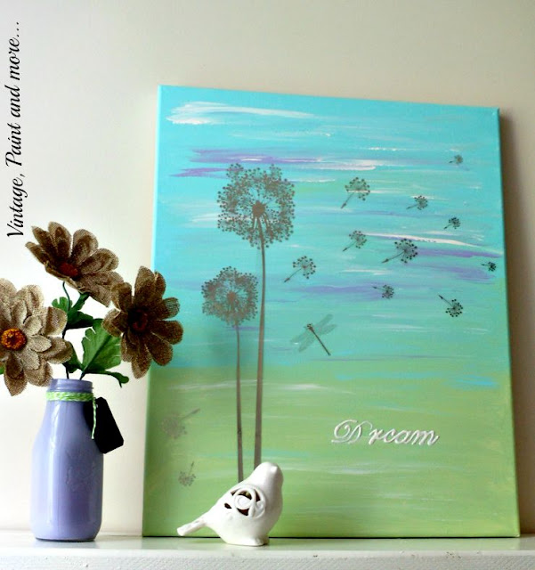 Vintage, Paint and more... DIY Dorm Decor - a painted canvas with a wall art rub on and stenciling