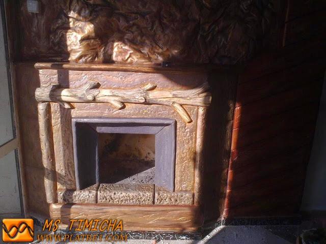 cheminée décorée en Platre
