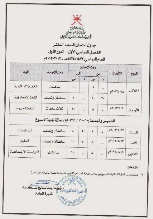 جدول امتحانات الصف العاشر ,الحادي ,الثاني عشر بسلطنة عمان 2014-2015