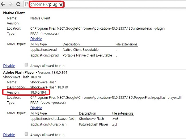 how to check installed plugins in chrome