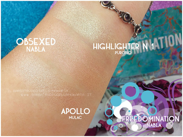 obsexed  comparazioni highlighter nabla cosmetics  recensione shades & glow freedomination collection summer